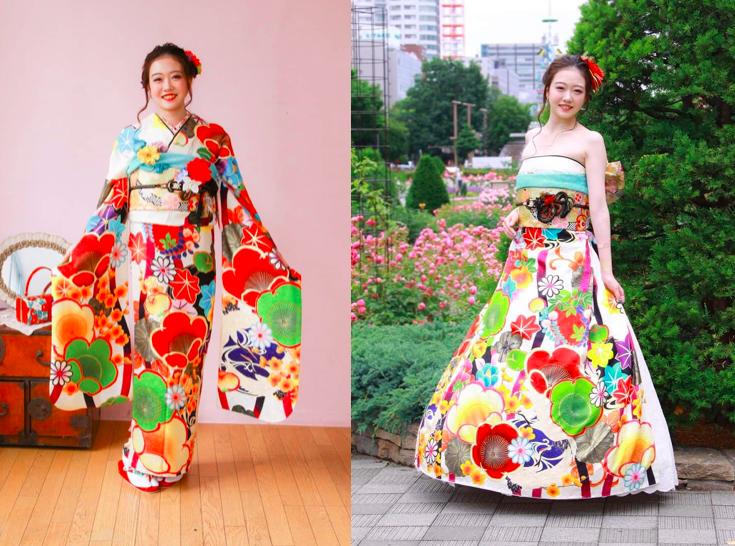 オリエンタル和装 着物からドレスへ変身